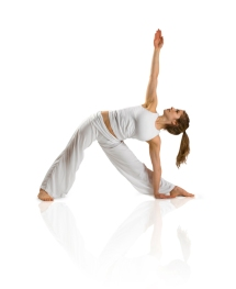 woman stretching plain background iStock_000007777818Small