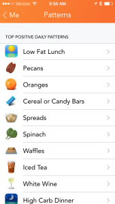 PATTERNS: Lose It! helps me see which foods correlate with me staying on budget.